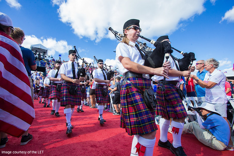 Bagpipe players Opening Ceremony Solheim Cup 2017